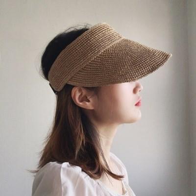 라피아 지사 와이어 밴딩 UV차단 썬캡 모자 (3color)