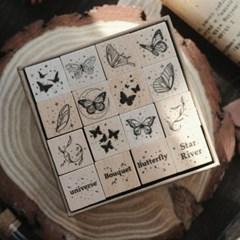 나비 구름 행성 우주 디자인 우드 나무 스탬프 세트 다꾸