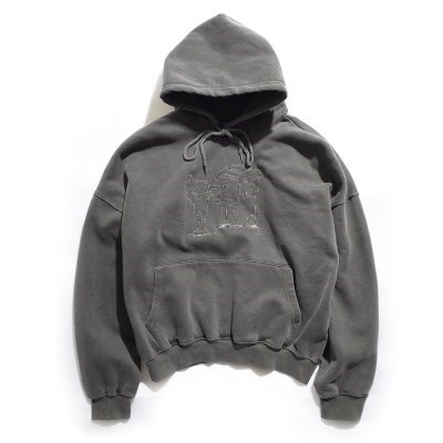 [EZwithPIECE] PIG DYED TRASHMAN HOODIE (CHARCOAL)_(401264789)