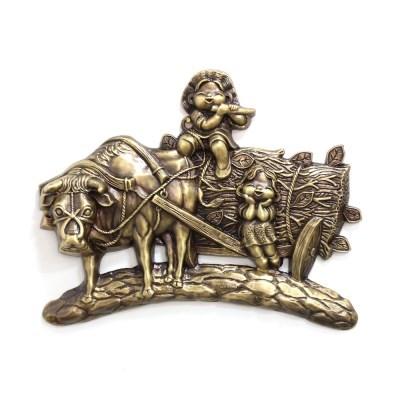 (kspz372)황소와 오누이 벽장식품 골드_(1625414)