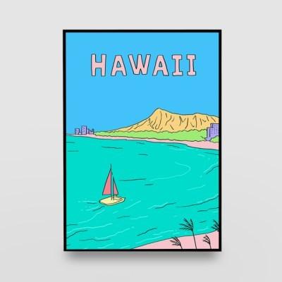 일러스트 포스터 / 인테리어 액자_hawaii 01
