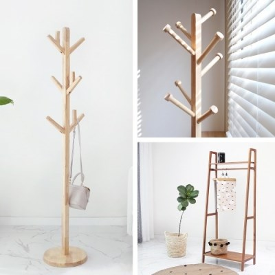 고무나무원목 디자인 행거 모음