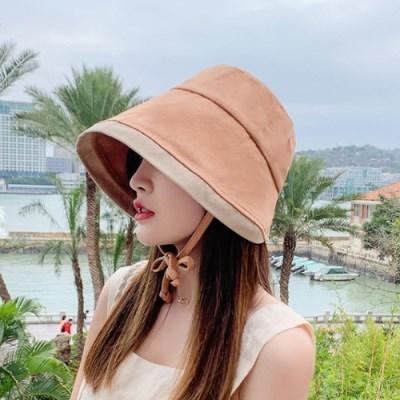배색 끈 여자 보넷 여름 벙거지 챙 모자 블랙 베이지