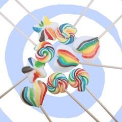 [스위트랩]무지개 회오리 별모양 하트모양사탕 롤리팝 답례품사탕