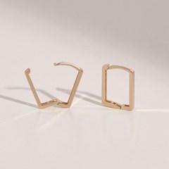 [14k Gold] 레디언 사각 원터치 링귀걸이
