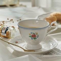 빈티지 블루라인 플라워 커피잔 세트