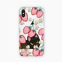 딸기밭 속 고양이 투명케이스