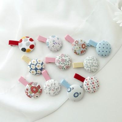 랜덤발송 자극없는 패턴거즈 유아 단추집게핀 12종세트 아기핀