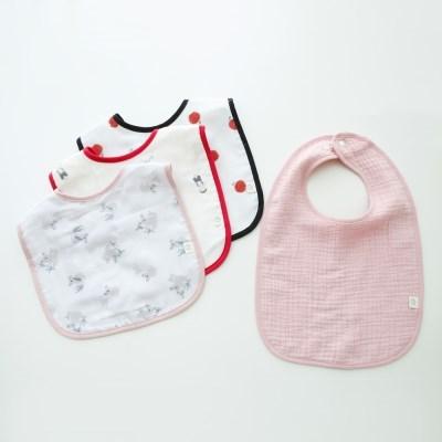 꿈두부 데일리 패턴이중거즈 턱받이 핑크 4종세트 초기이유식 침받이