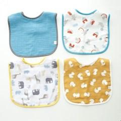 꿈두부 패턴거즈 이유식턱받이 블루4종 세트 아기 이유식 준비물
