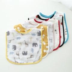꿈두부 데일리 패턴이중거즈 턱받이 6종세트 초기이유식 준비물