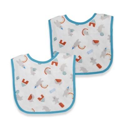 꿈두부 패턴거즈 곰돌이놀이터 턱받이 2개세트 초기이유식 준비물