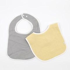 이중양면거즈 턱받이 옐로우그레이 2개세트 아기 초기 이유식 준비물