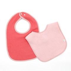 이중거즈턱받이 양면 핑크핫핑크 2개세트 아기 초기 이유식턱받이