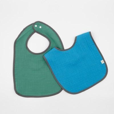 양면이중거즈 턱받이 2개세트 블루그린 아기이유식 침받이