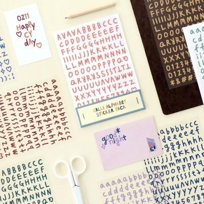 아이코닉 캘리 알파벳 숫자 10종 스티커팩