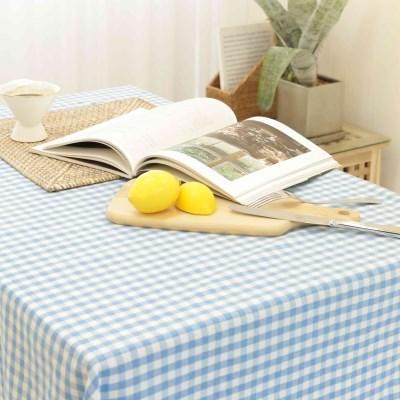 비비드 멜란 체크 식탁보-블루