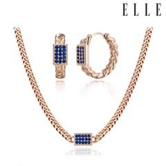 볼드 블루체인 귀걸이 목걸이 세트 EL2SET023_(1121700)