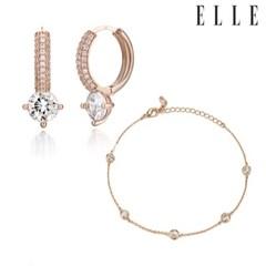 로즈 포인트 엣지 귀걸이 팔찌 세트 EL2SET025_(1121698)