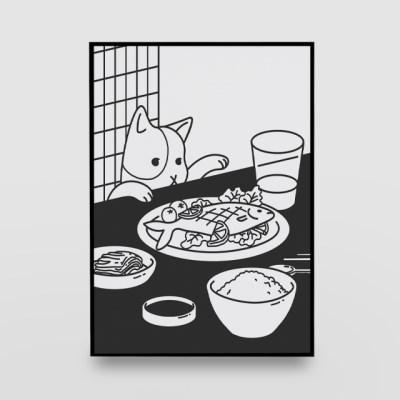 일러스트 포스터 / 인테리어 액자_cat on the table 01