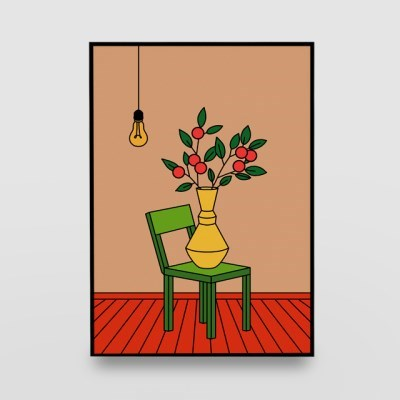 일러스트 포스터 / 인테리어 액자_green chair 01