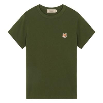 메종키츠네 W 폭스 헤드 패치 클래식 티셔츠 카키
