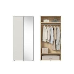 한샘 바이엘 소프트 거울옷장 크림화이트 90cm(높이216cm) 행거형 C