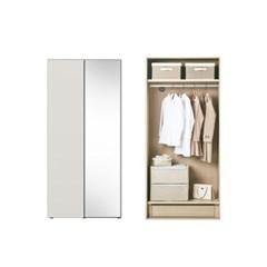 한샘 바이엘 소프트 거울옷장 크림화이트 100cm(높이216cm) 행거형 B