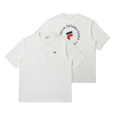 휠라 루즈핏 서클 그래픽 반팔 티셔츠 오프화이트_(202231919)