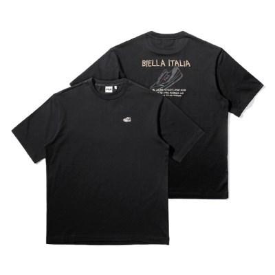 휠라 루즈핏 슈즈 그래픽 반팔 티셔츠 블랙_(202231918)