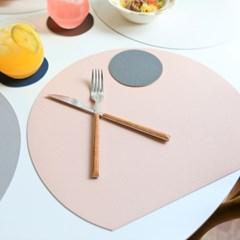 글로리 테이블 매트 & 티코스터 세트 북유럽식 가죽 양면