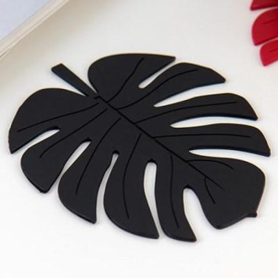 미니멀 블랙 나뭇잎 냄비받침 1개