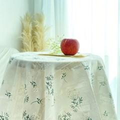 [집다다]감성 꽃무늬 린넨 레이스 홈카페 테이블보 원형 사각