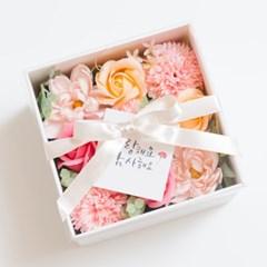어버이날 선물, 카네이션 비누꽃 플라워 정사각 용돈박스