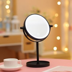 [홈앤트리] 엘리 터치 LED 스탠드 조명 거울(블랙)