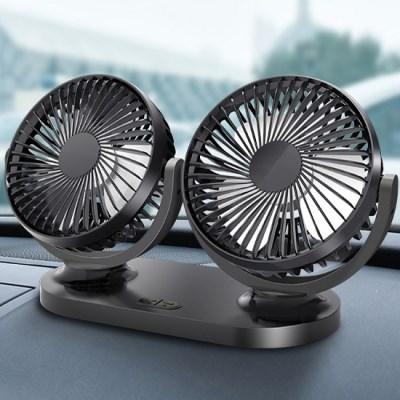 3단 풍속 조절 가능, 접착식 USB 차량용 듀얼 선풍기