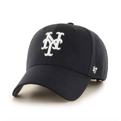 47브랜드 MLB모자 뉴욕 메츠 블랙 화이트빅로고 스트럭처