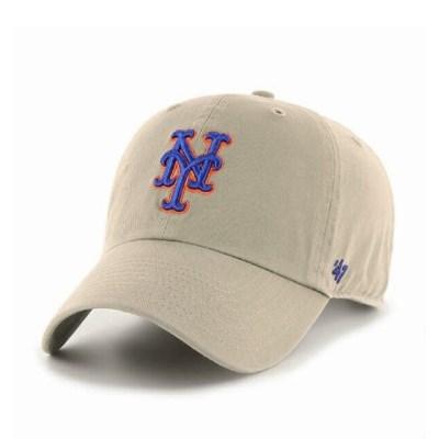 47브랜드 MLB모자 뉴욕 메츠 카키빈티지 로얄빅로고