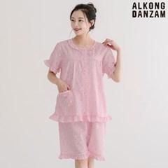 알콩단잠 여주니어잠옷 캐롯 시어서커 반팔 초등파자마 여름홈웨어