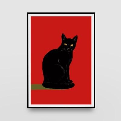일러스트 포스터 / 인테리어 액자_black cat 01