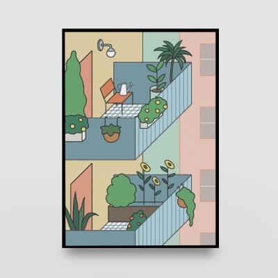 일러스트 포스터 / 인테리어 액자_balcony garden 01