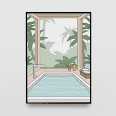 일러스트 포스터 / 인테리어 액자_jacuzzi 01