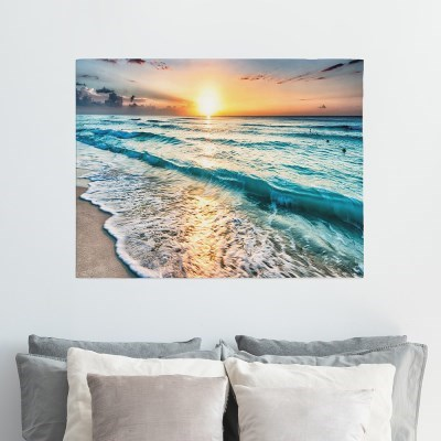 패브릭포스터 풍경커튼 바다그림 90x73 바다노을