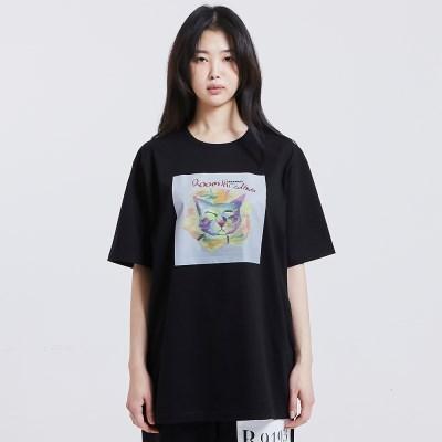 [방실이 시리즈] 방실이 Flower 숏슬리브 실켓 티셔츠 [BLACK]
