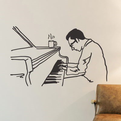 피아노치는 남자 일러스트 인테리어 스티커