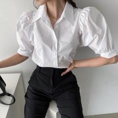봄 루즈핏 빅카라 셔링퍼프 벌룬 절개 코튼셔츠 블라우스