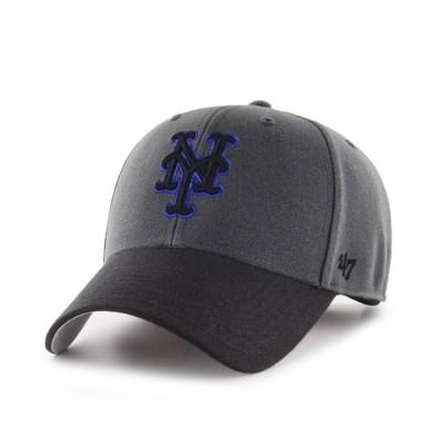47브랜드 MLB모자 뉴욕 메츠 차콜블랙 블랙로얄빅로고 스트럭처