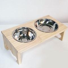 원목 애견식탁(왕관) 2구 식탁 밥그릇