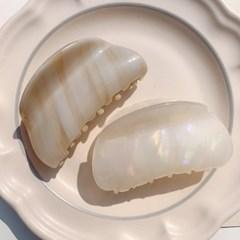 진주를 품은 조개 헤어 집게핀 머리핀 (2color)