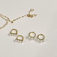 (silver 92.5) 펄라인 링 귀걸이